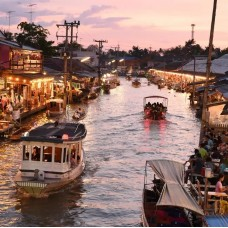 Maeklong Train Market and Amphawa Floating Night Market with Firefly Viewing Tour by TapMyTrip